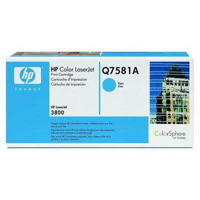 HP Original Q7581A Color LaserJet Laser Toner Cartridge - Cyan