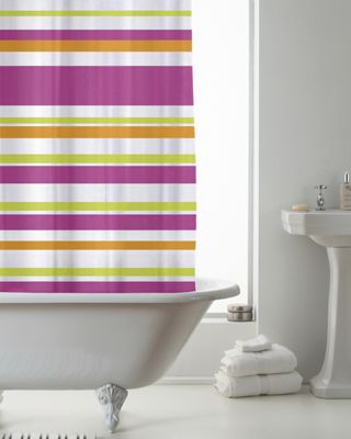 Country Club Shower Curtain Stripe Bright Pink 180 x 180cm
