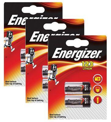 6 x Energizer CR123A CR123 123 3v Lithium Photo Battery