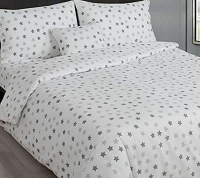 Grey and White Stars King Size Bedding