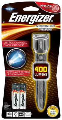 Energizer Vision HD Focus 400 Lumens Metal Handheld Torch 3 x AA Included