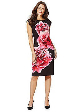 Roman Originals Floral Scuba Sleeveless Pencil Dress - Black & Pink