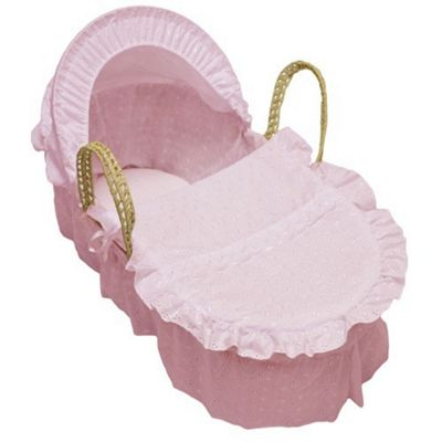 Cuddles Collection Broderie Anglais Moses Basket (Pink)