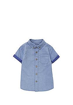 F&F Chambray Cuffed Short Sleeve Shirt - Blue