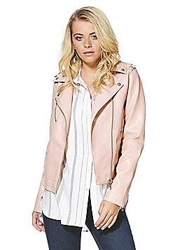 F&F Textured Faux Leather Biker Jacket - Blush pink