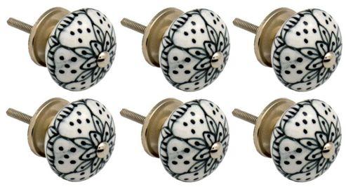 Ceramic Cupboard Drawer Knobs - Floral Design - White / Black - Pack Of 6
