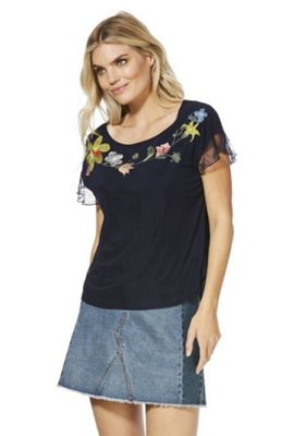 Solo Floral Embroidered Lace Back Top Navy 14