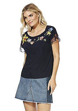 Solo Floral Embroidered Lace Back Top - Navy