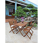 Bentley Wooden Furniture Patio Rectangular Table & 4 Chairs 5Pc Set