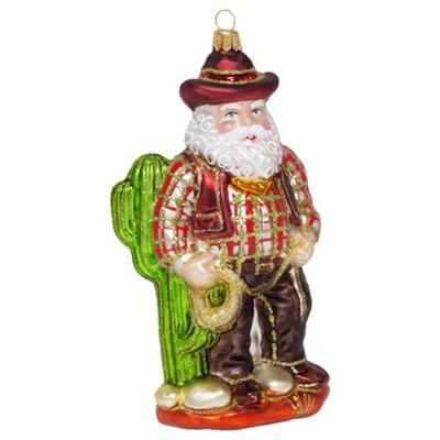 Texas Cowboy Father Christmas Mouth-blown Glass Bauble Tree Decoration