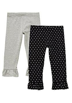 F&F 2 Pack of Polka Dot and Marl Frill Cuffs Leggings - Black & Grey