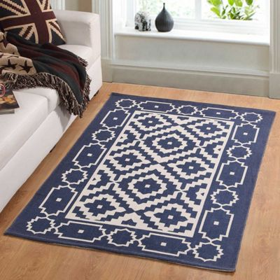 Homescapes Halmastad Handwoven Blue and White Scandi Style 100% Cotton Printed Rug, 90 x 150 cm