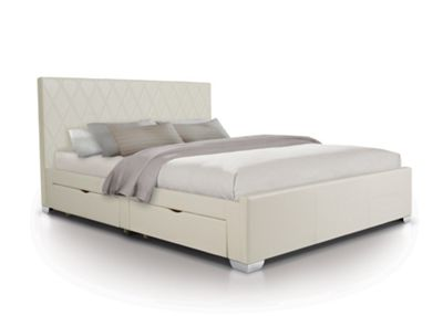 Diamond Designer 4 Draw Bed Upholstered in Faux Leather - Double - White