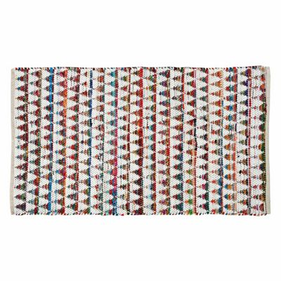 Homescapes Handwoven Multi Coloured 100% Cotton Diamond Chindi Hallway Runner, 66 x 200 cm