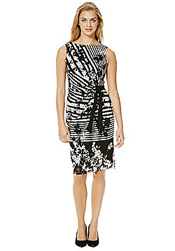 Roman Originals Striped Lace Shift Dress - Black & White