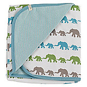 Pigeon Organics Reversible Blanket, Silhouette (Blue Elephant Mix)