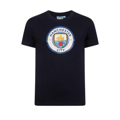 Manchester City FC Mens T-Shirt Navy Small