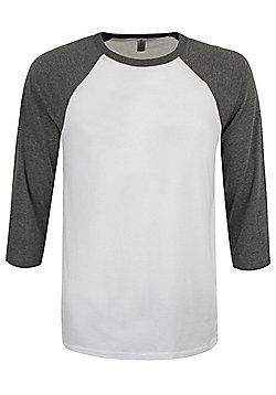 White & Deep Heather 3/4 Sleeve Baseball T-Shirt - White