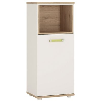 4KIDS 1 door narrow cabinet with open shelf in light oak and white high gloss with lemon handles