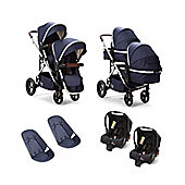 Cupla Duo Twin Travel System including 2 in 1 pushchair, Navy