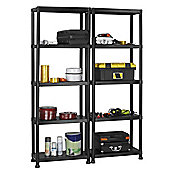 VonHaus Pack of Two 5 Tier Black Plastic Garage Shelving / Racking Units