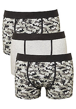 F&F 3 Pack of Camo Print Hipsters with As New Technology - Grey