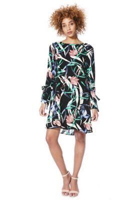 Vero Moda Paint Print Tie Sleeve Dress Black/Green L
