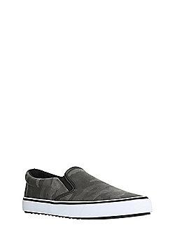 F&F Camo Print Slip-On Canvas Shoes - Khaki