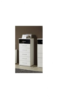 Amos Mann furniture Milano Narrow Chest of Drawer - Black and White