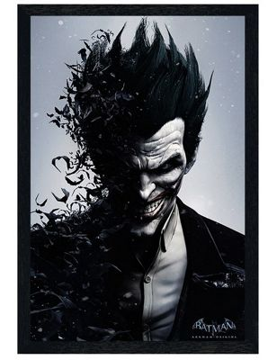 Black Wooden Framed Batman Arkham Origins Joker Poster