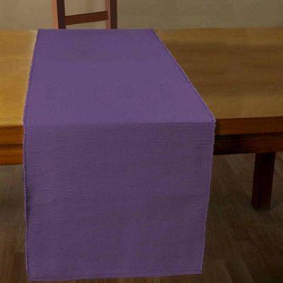 Homescapes Cotton Plain Purple Table Runner