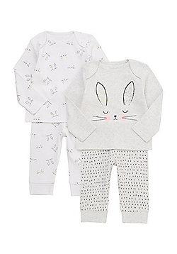 F&F 2 Pack of Bunny Face Pyjamas - Multi pink