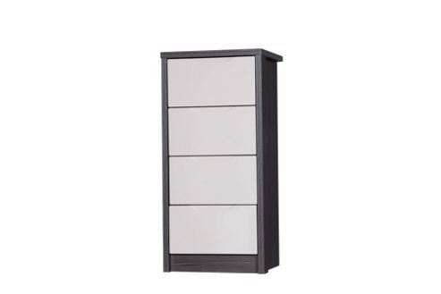 Alto Furniture Avola 4 Drawer Tall Boy Chest - Grey Avola With Sand Gloss