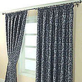 "Homescapes Blue Jacquard Curtain Floral Damask Design Fully Lined - 90"" X 54"" Drop"