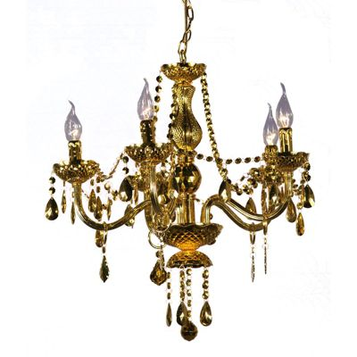 Gold Acrylic Chandelier - 5 Arm