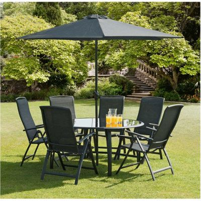 Buy Suntime Havana Black 6 Seat Outdoor Round Dining Set