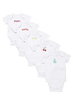 F&F 5 Pack of Fruit Print Short Sleeve Bodysuits - White