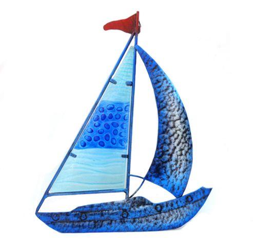 Novus Imports Sailboat Blue Metal Wall Art