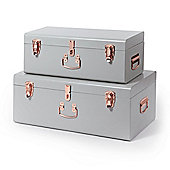 Beautify Set of 2 Metal Storage Trunks - Grey and Rose Gold