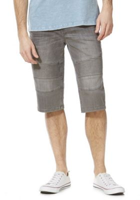 F&F Denim Biker Shorts Grey 32 Waist