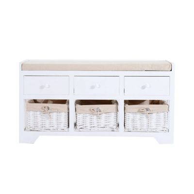 Homcom Wooden Unit Storage Bench Seater w/ Cushion & Removable Linings 3 drawers & 3 baskets