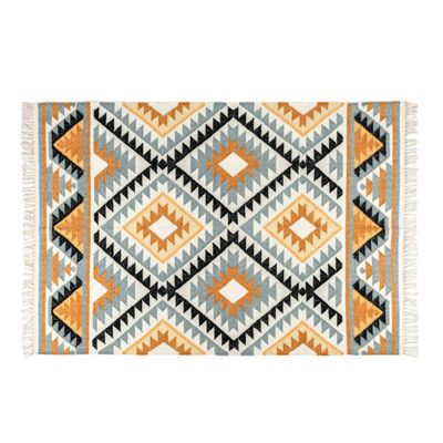 Homescapes Agra Handwoven Ochre Gold, Silver Grey and Black Diamond Pattern Kilim Wool Rug, 90 x 150 cm