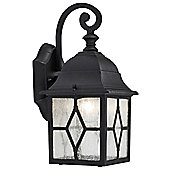 Outdoor Black Wall Lantern Light with Cathedral Lead Glass