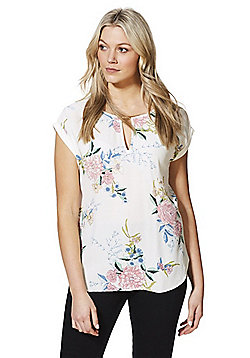 F&F Floral Print Woven Front Top - Cream