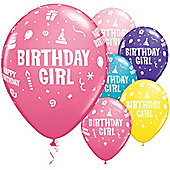 Birthday Girl Assorted 11 inch Latex Balloons - 25 Pack
