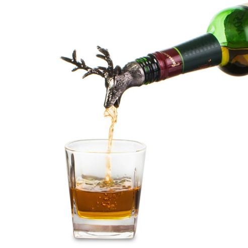 Stag Wine Bottle Stopper and Pourer - Stainless Steel