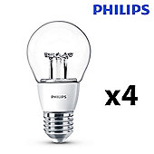 Pack of 4 Philips 6W Dimmable ES E27 LED GLS Bulbs in Warm White