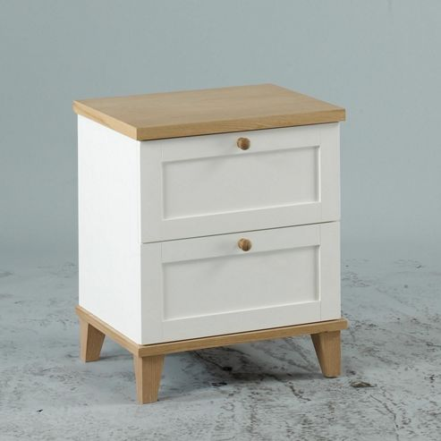 Home Zone Furniture Chicago 2 Drawer Bedside Table in White