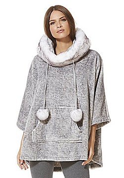 F&F Fleece Faux Fur Trim Lounge Poncho - Grey marl
