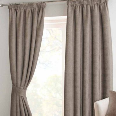 Homescapes Mink Chenille Pencil Pleat Lined Curtain Pair, 46 x 54